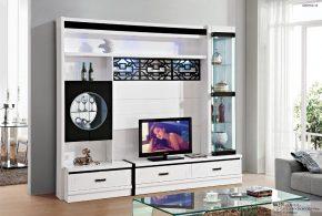 Гостинная gos72526 по индивидуальным размерам на заказ, материалы из лдсп мдф стекла расцветка — черно-белый белый черный в интернет магазине mebelblok.ru