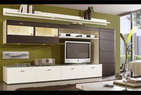 Гостинная gos29812 по индивидуальным размерам на заказ, материалы из лдсп мдф стекла расцветка — коричневый белый в интернет магазине mebelblok.ru