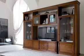Гостинная gos33228 по индивидуальным размерам на заказ, материалы из массива дерева лдсп мдф стекла расцветка — коричневый в интернет магазине mebelblok.ru