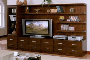 Гостинная gos62083 по индивидуальным размерам на заказ, материалы из массива дерева лдсп мдф расцветка — коричневый в интернет магазине mebelblok.ru