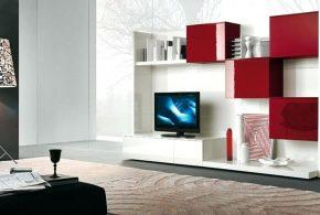 Гостинная gos32761 по индивидуальным размерам на заказ, материалы из лдсп мдф эмали расцветка — красный белый в интернет магазине mebelblok.ru