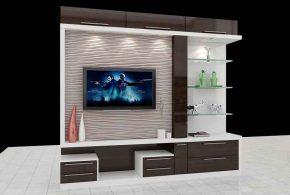 Гостинная gos86418 по индивидуальным размерам на заказ, материалы из лдсп мдф эмали расцветка — коричневый белый в интернет магазине mebelblok.ru