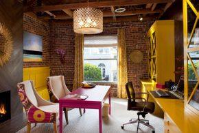 Кабинет kab16950 по индивидуальным размерам на заказ, материалы из лдсп мдф расцветка — жёлтый розовый в интернет магазине mebelblok.ru
