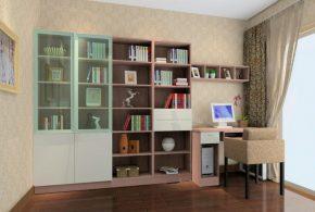 Кабинет kab67162 по индивидуальным размерам на заказ, материалы из лдсп мдф стекла эмали расцветка — коричневый белый в интернет магазине mebelblok.ru