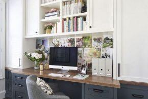 Кабинет kab63010 по индивидуальным размерам на заказ, материалы из дерева лдсп мдф расцветка — белый серый в интернет магазине mebelblok.ru
