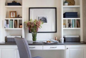 Кабинет kab24957 по индивидуальным размерам на заказ, материалы из дерева лдсп мдф расцветка — белый серый в интернет магазине mebelblok.ru