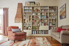 Библиотека bib12429 по индивидуальным размерам на заказ, материалы из лдсп мдф расцветка — бежевый в интернет магазине mebelblok.ru