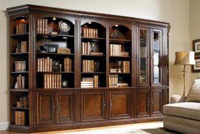 Библиотека bib60987 по индивидуальным размерам на заказ, материалы из дерева лдсп мдф расцветка — коричневый в интернет магазине mebelblok.ru