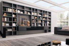 Библиотека bib95268 по индивидуальным размерам на заказ, материалы из лдсп мдф расцветка — черный серый в интернет магазине mebelblok.ru
