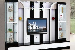 Гостинная gos40004 по индивидуальным размерам на заказ, материалы из лдсп мдф расцветка — черно-белый белый черный в интернет магазине mebelblok.ru