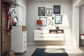Прихожая pri85542 по индивидуальным размерам на заказ, материалы из лдсп мдф эмали расцветка — коричневый белый в интернет магазине mebelblok.ru