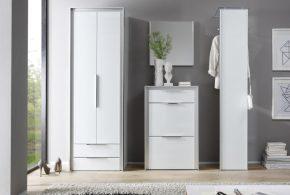 Прихожая pri35793 по индивидуальным размерам на заказ, материалы из лдсп мдф эмали расцветка — белый серый в интернет магазине mebelblok.ru