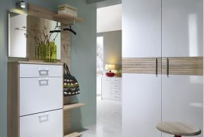 Прихожая pri12067 по индивидуальным размерам на заказ, материалы из лдсп мдф эмали расцветка — коричневый белый в интернет магазине mebelblok.ru