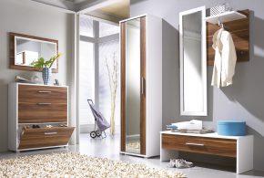 Прихожая pri93052 по индивидуальным размерам на заказ, материалы из лдсп мдф расцветка — коричневый белый в интернет магазине mebelblok.ru