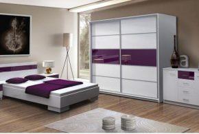 Спальня spa87726 по индивидуальным размерам на заказ, материалы из акрила лдсп мдф расцветка — фиолетовый серебристый белый в интернет магазине mebelblok.ru