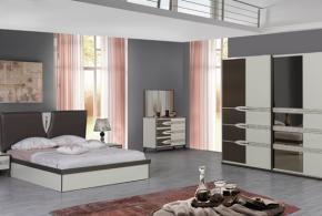 Спальня spa95682 по индивидуальным размерам на заказ, материалы из лдсп мдф эмали расцветка — коричневый бежевый в интернет магазине mebelblok.ru