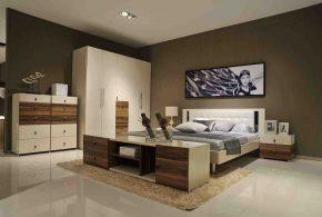 Спальня spa87508 по индивидуальным размерам на заказ, материалы из лдсп мдф эмали расцветка — коричневый белый в интернет магазине mebelblok.ru