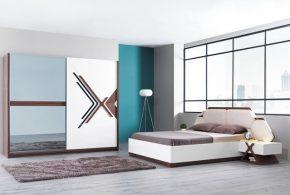 Спальня spa59610 по индивидуальным размерам на заказ, материалы из лдсп мдф эмали расцветка — коричневый бежевый белый в интернет магазине mebelblok.ru