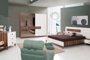 Спальня spa69199 по индивидуальным размерам на заказ, материалы из лдсп мдф эмали расцветка — коричневый белый в интернет магазине mebelblok.ru