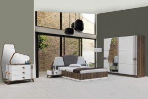 Спальня spa71936 по индивидуальным размерам на заказ, материалы из лдсп мдф эмали расцветка — коричневый белый в интернет магазине mebelblok.ru