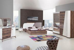 Спальня spa22687 по индивидуальным размерам на заказ, материалы из лдсп мдф эмали расцветка — коричневый белый в интернет магазине mebelblok.ru