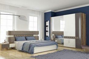Спальня spa63270 по индивидуальным размерам на заказ, материалы из лдсп мдф эмали расцветка — коричневый белый в интернет магазине mebelblok.ru
