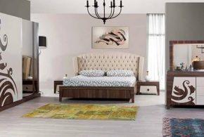 Спальня spa75558 по индивидуальным размерам на заказ, материалы из лдсп мдф эмали расцветка — коричневый белый в интернет магазине mebelblok.ru