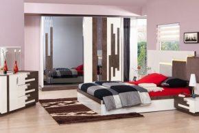 Спальня spa83305 по индивидуальным размерам на заказ, материалы из лдсп мдф эмали расцветка — коричневый белый в интернет магазине mebelblok.ru