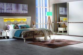 Спальня spa56457 по индивидуальным размерам на заказ, материалы из лдсп мдф эмали расцветка — коричневый белый в интернет магазине mebelblok.ru