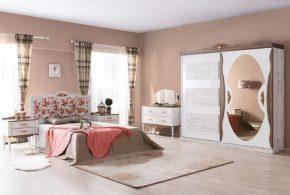 Спальня spa26648 по индивидуальным размерам на заказ, материалы из лдсп мдф расцветка — коричневый белый в интернет магазине mebelblok.ru