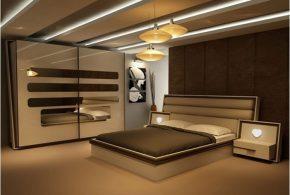 Спальня spa47819 по индивидуальным размерам на заказ, материалы из лдсп мдф расцветка — коричневый бежевый в интернет магазине mebelblok.ru