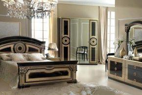 Спальня spa25347 по индивидуальным размерам на заказ, материалы из лдсп мдф эмали расцветка — бежевый черный в интернет магазине mebelblok.ru
