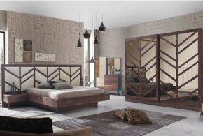 Спальня spa60418 по индивидуальным размерам на заказ, материалы из лдсп мдф расцветка — коричневый белый в интернет магазине mebelblok.ru