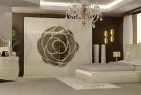 Спальня spa63801 по индивидуальным размерам на заказ, материалы из лдсп мдф эмали расцветка — золотистый белый в интернет магазине mebelblok.ru