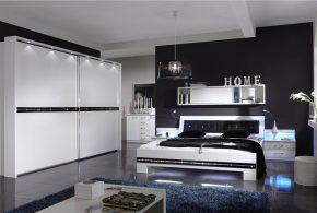 Спальня spa77645 по индивидуальным размерам на заказ, материалы из лдсп мдф эмали расцветка — черно-белый белый черный в интернет магазине mebelblok.ru
