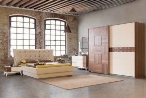 Спальня spa71888 по индивидуальным размерам на заказ, материалы из лдсп мдф расцветка — коричневый бежевый в интернет магазине mebelblok.ru