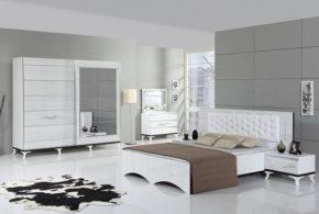 Спальня spa28800 по индивидуальным размерам на заказ, материалы из лдсп мдф расцветка — белый серый в интернет магазине mebelblok.ru