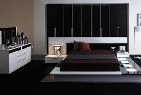 Спальня spa89011 по индивидуальным размерам на заказ, материалы из лдсп мдф расцветка — черно-белый белый черный в интернет магазине mebelblok.ru