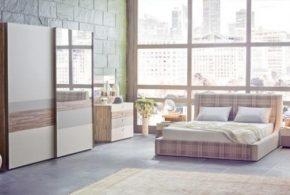 Спальня spa48723 по индивидуальным размерам на заказ, материалы из лдсп мдф эмали расцветка — коричневый бежевый белый в интернет магазине mebelblok.ru
