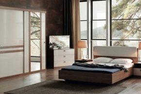 Спальня spa62774 по индивидуальным размерам на заказ, материалы из лдсп мдф расцветка — коричневый бежевый белый в интернет магазине mebelblok.ru