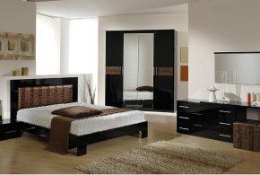 Спальня spa24143 по индивидуальным размерам на заказ, материалы из лдсп мдф расцветка — коричневый черный в интернет магазине mebelblok.ru