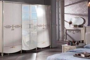 Спальня spa80651 по индивидуальным размерам на заказ, материалы из лдсп мдф эмали расцветка — серебристый белый в интернет магазине mebelblok.ru