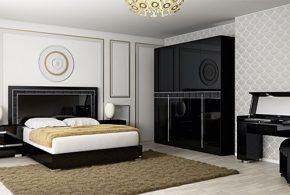 Спальня spa67641 по индивидуальным размерам на заказ, материалы из лдсп мдф эмали расцветка — черный в интернет магазине mebelblok.ru