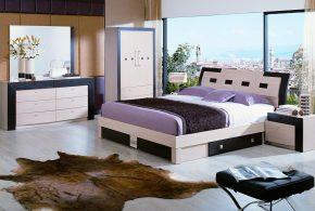 Спальня spa25877 по индивидуальным размерам на заказ, материалы из лдсп мдф расцветка — коричневый бежевый в интернет магазине mebelblok.ru