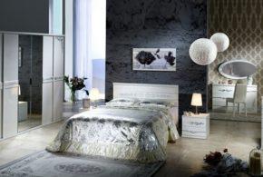 Спальня spa85610 по индивидуальным размерам на заказ, материалы из лдсп мдф расцветка — белый серый в интернет магазине mebelblok.ru