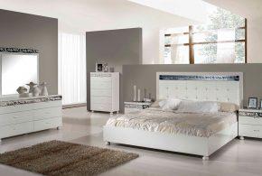 Спальня spa77148 по индивидуальным размерам на заказ, материалы из лдсп мдф расцветка — серебристый белый в интернет магазине mebelblok.ru