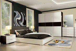 Спальня spa18888 по индивидуальным размерам на заказ, материалы из лдсп мдф эмали расцветка — черно-белый белый черный в интернет магазине mebelblok.ru