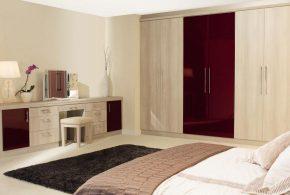 Спальня spa84603 по индивидуальным размерам на заказ, материалы из лдсп мдф эмали расцветка — бордовый бежевый в интернет магазине mebelblok.ru