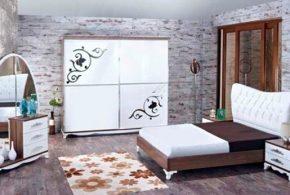 Спальня spa15359 по индивидуальным размерам на заказ, материалы из лдсп мдф эмали расцветка — коричневый белый в интернет магазине mebelblok.ru
