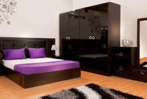 Спальня spa86653 по индивидуальным размерам на заказ, материалы из лдсп мдф расцветка — коричневый черный в интернет магазине mebelblok.ru
